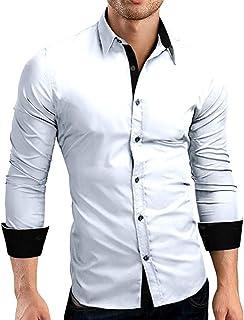 TEBAISE Men's Autumn Casual Formal Solid Slim Fit Long Sleeve Dress Shirt Top Blouse Gentleman