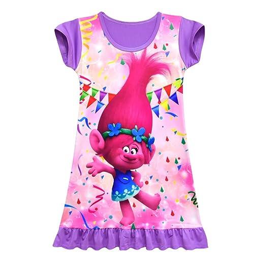 Girls Dress Trolls Printed Design Casual Loose Pajamas Nightgown Sleepwear