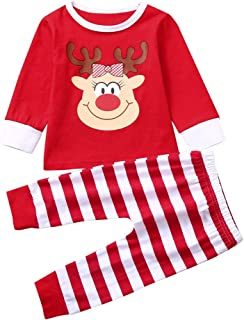 iLOOSKR Christmas Warm Baby Boys Girls Christmas Cartoon Striped Printed Tops Pants Set Outfits
