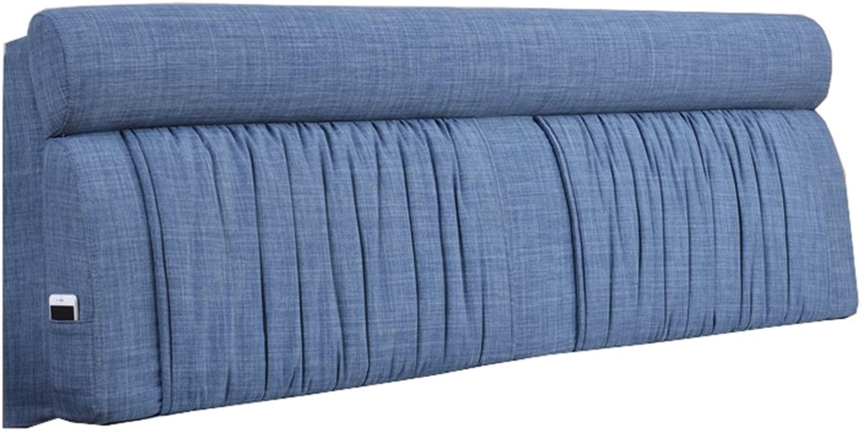 Coussins de chevet dossier Nordic style soft package chambre chevet couverture lin couleur unie taie d'oreiller-8 taille en option (Couleur   bleu, taille   190  12  60cm)
