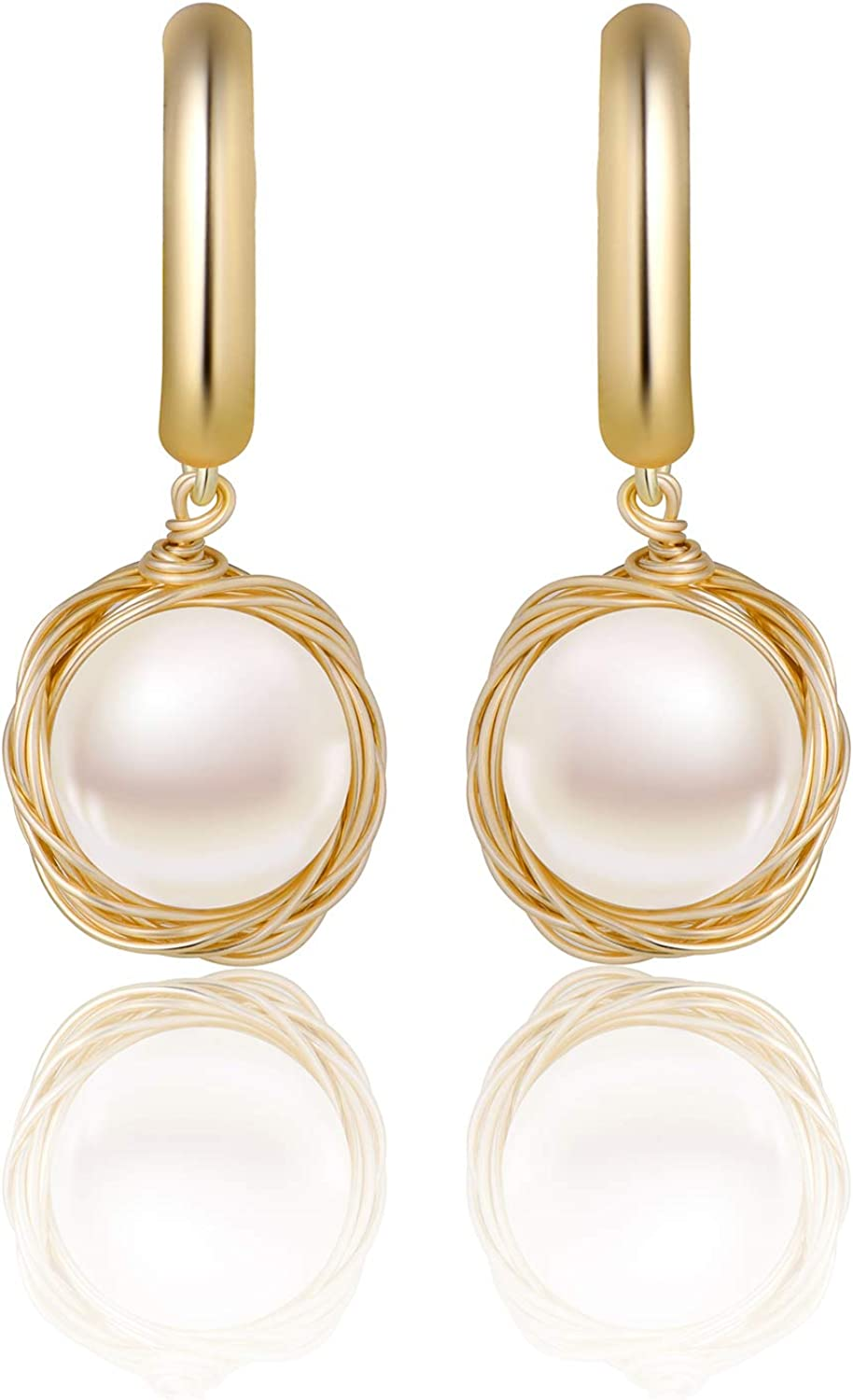 Baltimore Mall Max 88% OFF Round Freshwater Cultured Pearl Earrings Dangle Fashion Earring