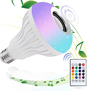 DGRENA LED Music Light Bulb, Bluetooth Speaker, E27, 12W RGB Color Conversion Light, Wireless Stereo, 24 Key Remote Control Switch, CE Certification, Party Manufacturing Atmosphere