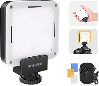 Neewer 12 SMD LED Bulb Mini Pocket-Size On-Camera LED Video Light, LED Lighting CRI 95+ with Built-in Battery/USB Charging/Hot Shoe Adapter Compatible with Canon Nikon Sony and Other DSLR Cameras