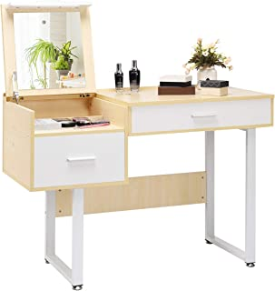 CHARMAID Makeup Table Writing Desk with Flip Top Mirror, Vanity Table with 5 Storage Compartments, Dressing Table Computer Laptop Desk with 2 Large Drawers for Students Girls Women
