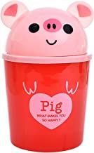 Chaonong Trash Can Mini Desktop Trash Can with Lid Household Cleaning Trash Can Desktop Tools 1.5 Liters (Color : Pig)