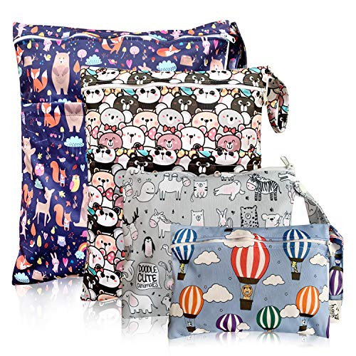 Washable and Reusable Wet Bag, Diaper Bag, Water Resistant Swimming Bag, Travel Toiletries Pouch, Yoga Gym Bag, Bear Fox and Zoo Animal, 4 Pcse