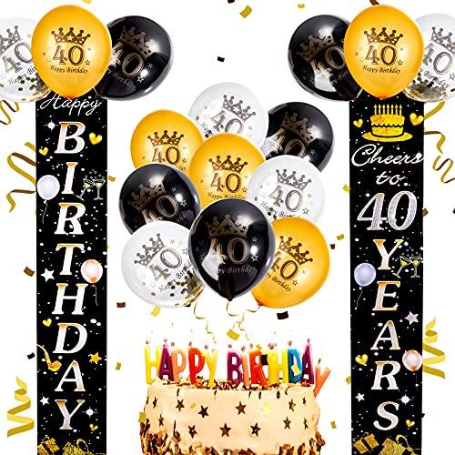 FORMIZON 40 Cumpleaños Pancarta Oro Negro, Globos de Confeti, Decoración Fiesta Cumpleaños Oro Negro, 40 Globos cumpleaños Oro Negro Pancarta para Decoración Colgante Pancarta de Bienvenida
