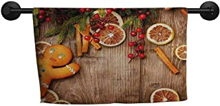 xixiBO Wholesale Towel W 35 x L 12(inch) Ladies Towel,Gingerbread Man,Rustic Composition with Holly Berry Orange Slice Cinnamon and Biscuit,Brown Orange Red