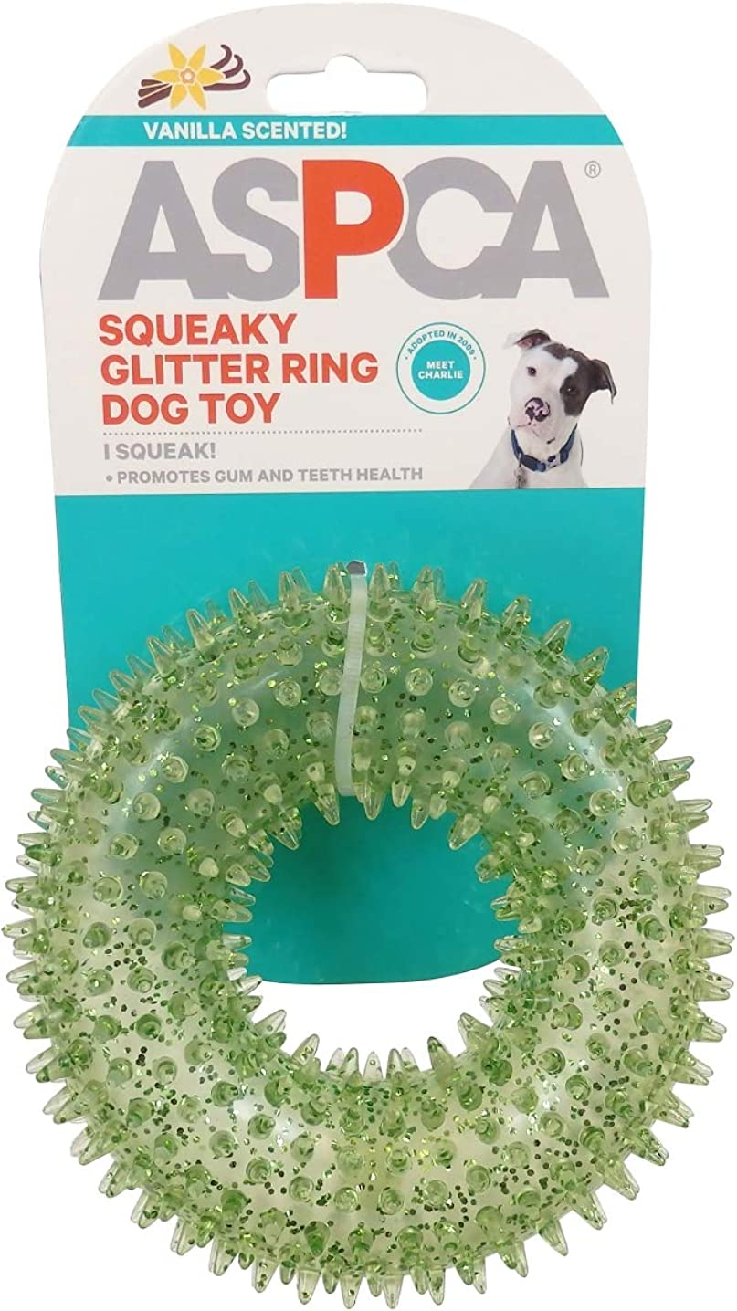 Bow Wow Pet As11141-Green Aspca Squeaky Glitter Ring Dog Toy-Green