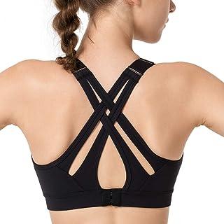 Yvette Women High Impact Sports Bras Criss Cross Back Sexy Running Bra Adjustable
