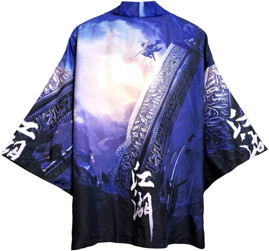 CDDKJDS 16 Style Dragon Printing Men Women Harajuku Fashion Kimono Cardigan Blouse Clothes Samurai (Color : Style 7, Size : XL)