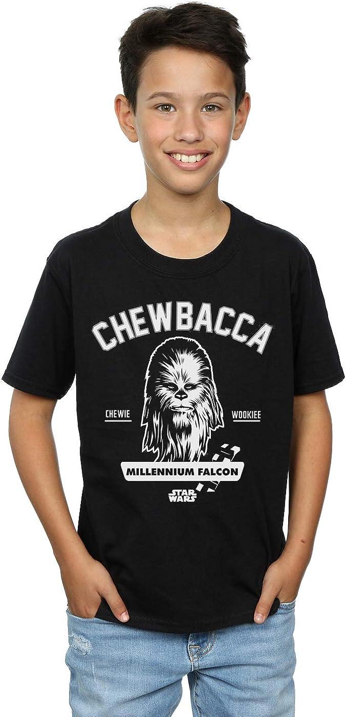 STAR WARS Boys Chewbacca Collegiate T-Shirt 7-8 Years Black