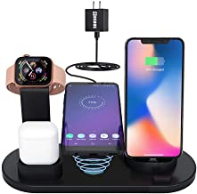 Wireless Charger,COSOOS 4in1 Wireless Charging Station for Apple Product,iWatch Series 5/4/3/2/1,Airpods,Charging Dock Compatible with iPhone 11 Pro Max/Xs/Xr/X/8/8 Plus/7/6S/SE/5S(No Watch Charger)