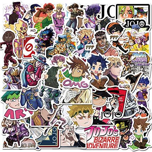 JoJo's Bizarre Adventure Stickers,50PCS Anime Cartoon Waterproof Laptop Stickers Water Bottle Cellphone Bicycle Motorcycle Car Sticker Decals