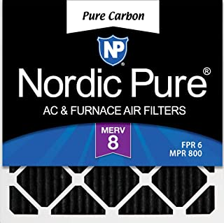 Nordic Pure 12x12x1 Pure Carbon Pleated Odor Reduction AC Furnace Air Filters, 3 Pack, 3 piece
