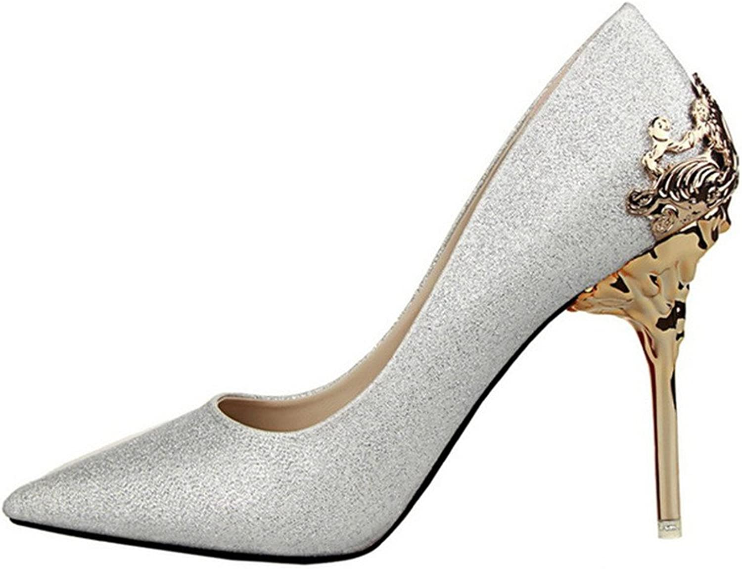 Lady's Pointed-toe pump shoes Silver color