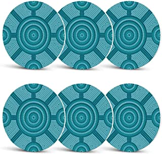 Teal Decor Funny Coasters,Abstract Aboriginal Dot Painting Ancient Native Ethnic Cultural Art in Australia for Wine Glasses Cold DrinksSet of 6