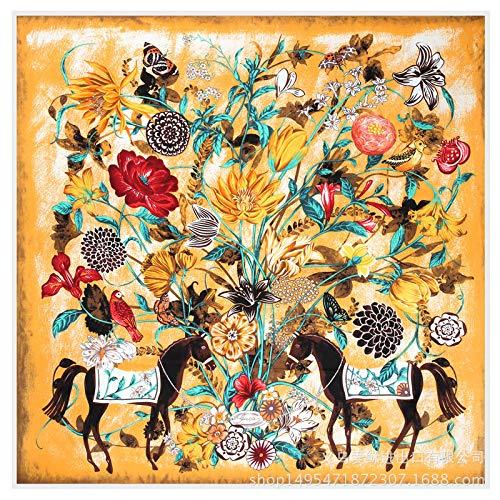 Zeldzaam paard dotem modelleren De zijde ruimte sjaal vriendelijke prijs 130×130cm oranje