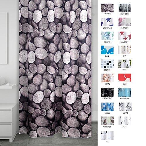 RIDDER 403270 Duschvorhang Textil ca. 180 x 200 cm, Piedras