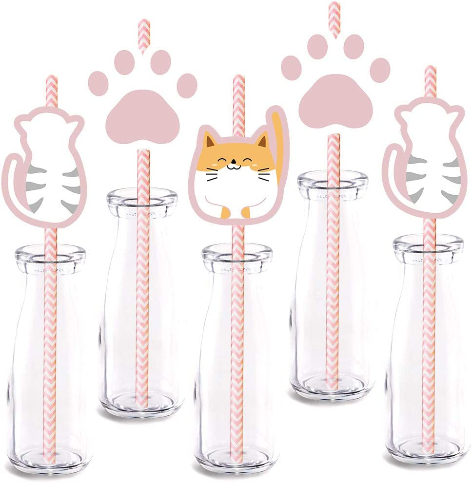 Cat Party Straw Decor 24-Pack Cute OFFicial mail order Or Part Birthday Max 81% OFF Baby Shower