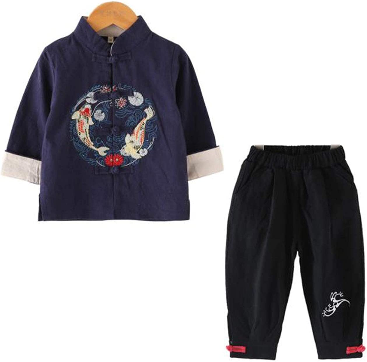 WenWen Toddler Little Boy's Button Down Shirt Pants Clothing Set Chinese Tang Suit (navyblack,Height 39.4