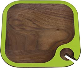 "product image for 6.5"" Handcrafted WUD Walnut Wood Hors d'Oeuvres and Wine Party Tray with Lime Green Trim"