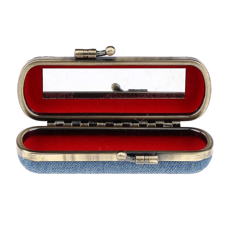 世論調査不平を言う純度Injoyo 口紅収納ケース ホルダー 口紅ホルダー 口紅ケース ミラー付 化粧品収納 持ち運び 便利 全4色選択 - スカイブルー