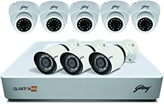 Godrej Security Solutions See Thru 1080P 8 Channel 5 Dome 3 Bullet Cameras HD Full CCTV Camera Kit (White)