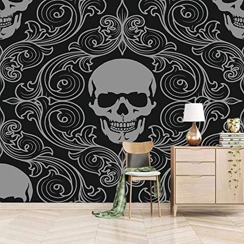 Msrahves Paredes Decoración Hogar Horror Esqueleto Negro Rayas pared vinilos decorativos papel fotografico 3D Fondos de pantalla Fondo Pared Sala de estar Dormitorio TV Sofá Mural Papel tapiz