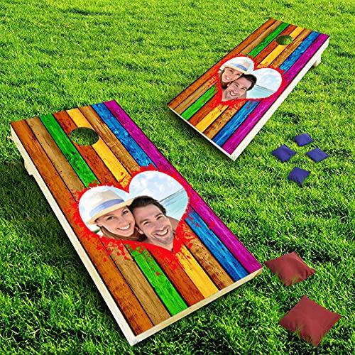 ADEDIY Custom Cornhole Wrap Rainbow Wooden Strips Personalized Skins...