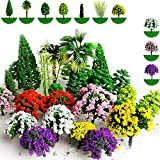 hatisan 37pcs Mixed Model Trees 1.45-5.5 inch (3.7 -14 cm), Ho Scale Trees Diorama Supplies, Model Train Scenery, Fake Trees for Projects, DIY Scenery Landscape Woodland Scenery - Multiple Type