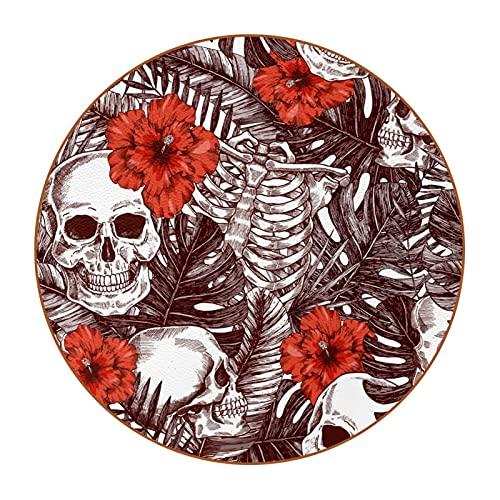 Posavasos de Halloween Skull & Roses4.7.6 cm, antimanchas, cristal antiarañazos y antideslizante, un juego de 6 absorbentes