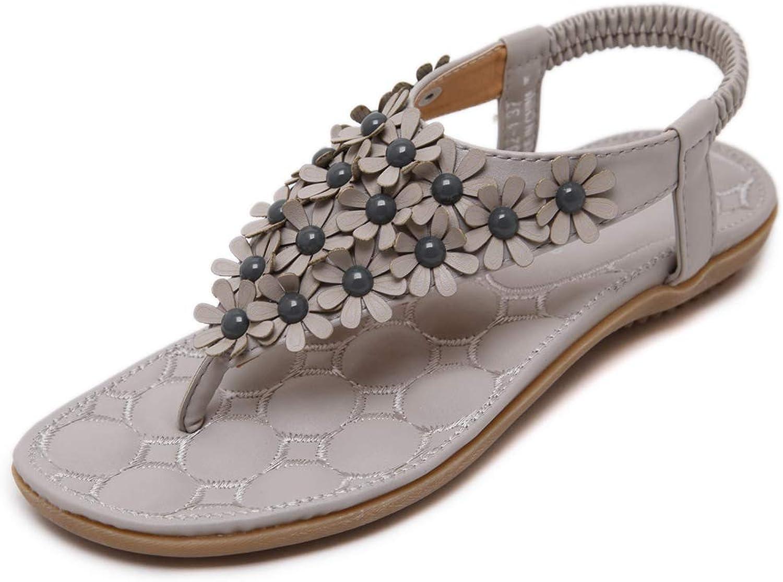 York Zhu Women's Bohemia Summer Beach Flower Flat Sandals T-Strap Dress Sandal Flip Flops