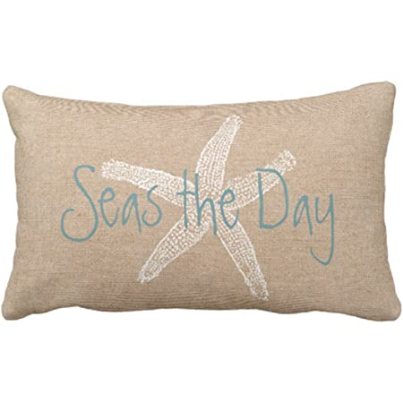 Amazon Com Emvency Throw Pillow Cover Seas The Day Vintage Beach Starfish On Canvas Look Decorative Pillow Case Whimsical Home Decor Rectangle Queen Size 20x30 Inch Cushion Pillowcase Home Kitchen