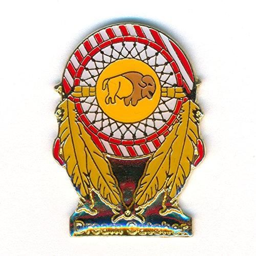Traumfänger Dreamcatcher Bison mit Federn Badge Metall Button Pin Anstecker 0265