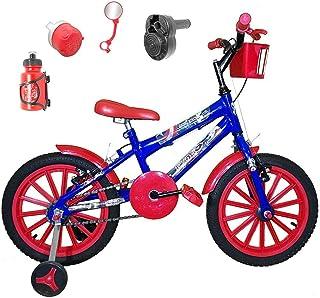 4121b2a8c Bicicleta Infantil Aro 16 Azul Kit Vermelho C Acelerador Sonoro