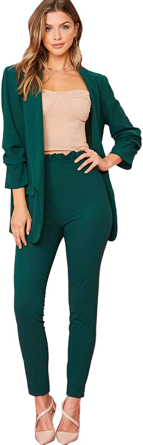 SheIn Women's Two Piece Open Front Long Sleeve Blazer and Elastic Waist Solid Pant Set Suit