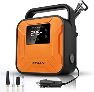 JETHAX Air Compressor Tire Inflator, 12V Portable Air Pump for Car Tires, Tire Pump with LED Light, Long Cable and Auto Sh...