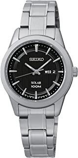 Seiko SUT161 Solar Ladies Black Dial Stainless Steel Watch