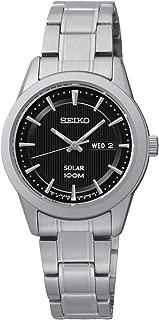 Seiko SUT161 Solar Ladies Black Dial Stainless Steel Watch