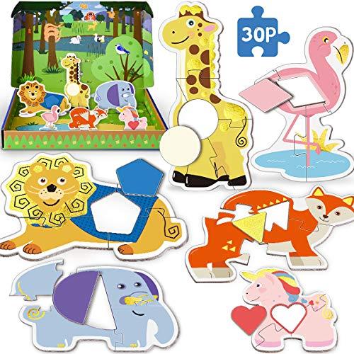 PAPERKIDDO 30 Piezas Puzzles de de Cartón de Colores Animal Educativos Juguetes Bebes,Colorido Rompecabezas Juguetes de Inteligencia para niños 2 3 4 años (Animal)