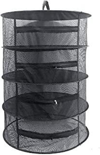 Herb Drying Rack Net 4 Layer Herb Dryer Black Mesh Hanging Dryer Rack with Zipper (31.5
