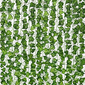 JPSOR 24pcs 158 Feet Fake Ivy Leaves Fake Vines Artificial Ivy Silk Ivy Garland Greenery Artificial Hanging Plants for Wedding Wall Decor Party Room Decor