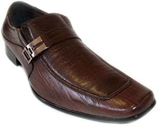 Delli Aldo New Mens Leather Dress Shoes Buckle Strap Loafers Slip ON/BROWN18612