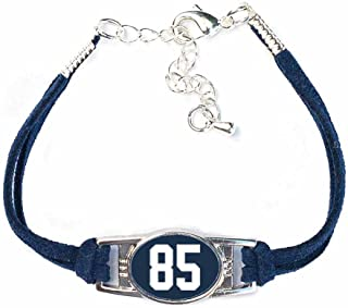 Number Charm Bracelet (00-99) Jersey Style in Team Colors (Navy Blue & White)