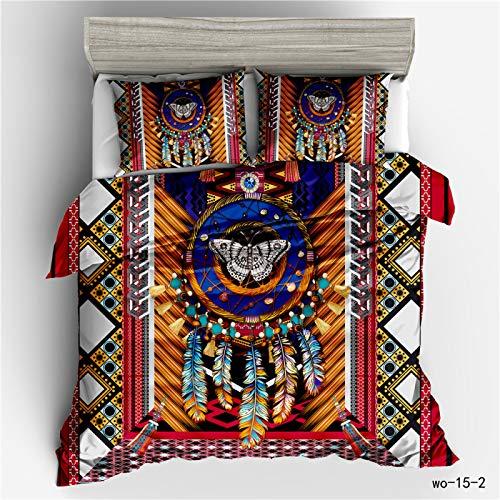 QXbecky Bohemian Totem Sheep Bone Dream Catcher Ethnic Style 3D Bedding Quilt Cover Pillowcase 3-Piece Set