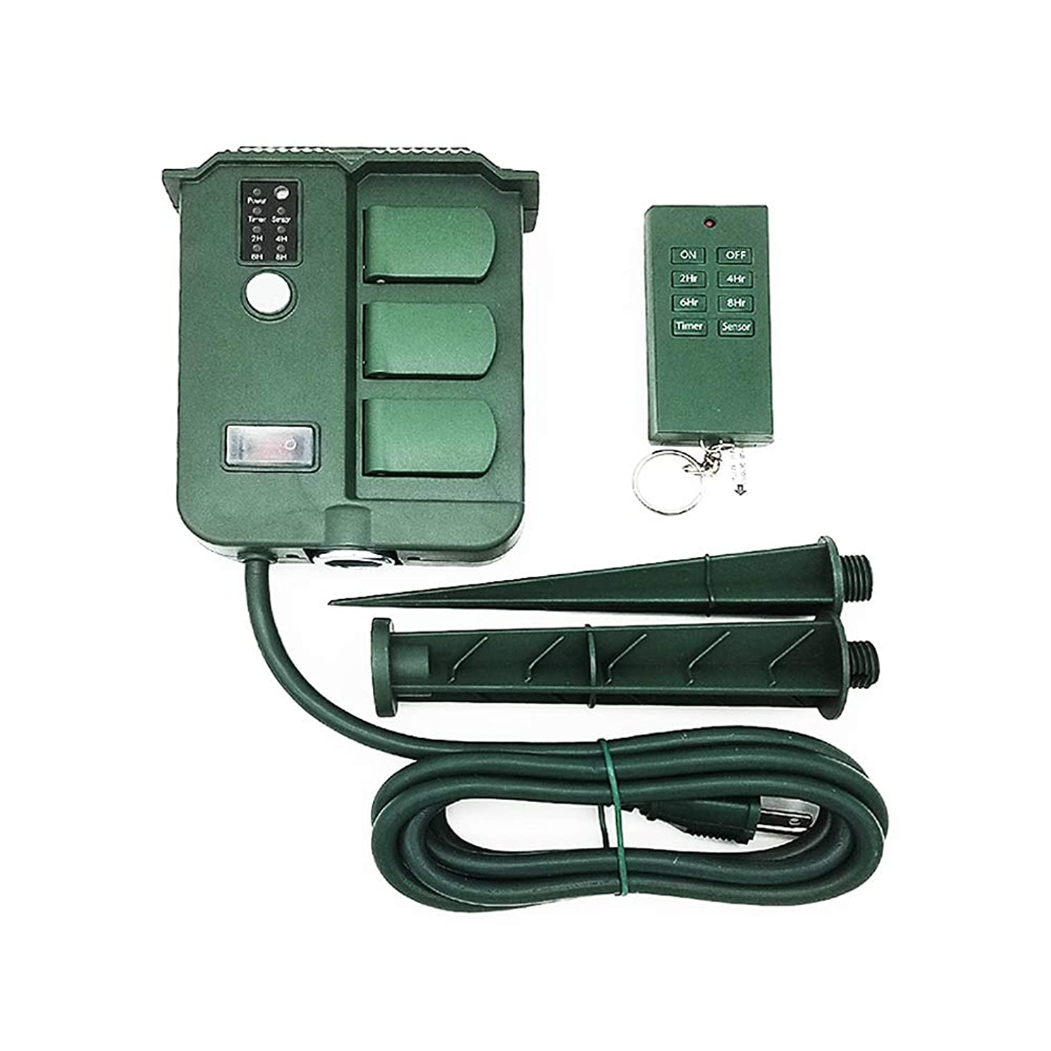 Uninex Remote Control 6 Outlet Digital Timer Weatherproof Yard Stake Outdoor 6 Ft Cord Safety Flip Covers UL