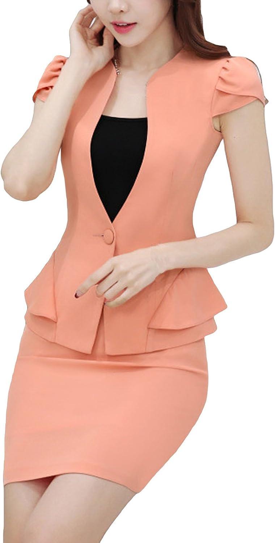 MFrannie Womens Vintage Flouncing Summer Office Suit Set of Blazer & Skirt