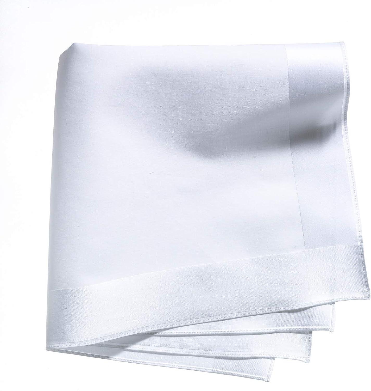 Lehner Switzerland Men's White Cotton Wide Satin Band Handkerchief