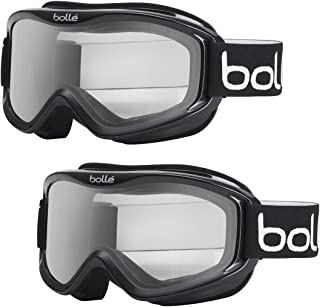 Bolle Mojo Anti-Fog Snow/Ski Goggles (Black Frame, Clear Lens, Medium to Large Adult Fit) 2-Pack